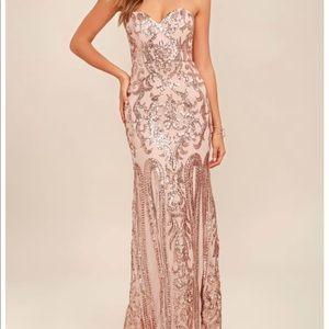 REBECCA ROSE GOLD STRAPLESS SEQUIN MAXI DRESS